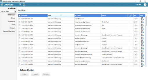 Absio Archiver Encrypted Email Compliance Archive screenshot