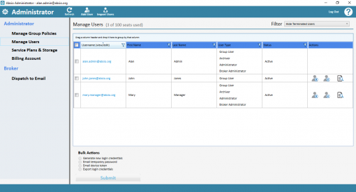 Absio Administrator - Encrypted Email Administration for Absio Dispatch screenshot